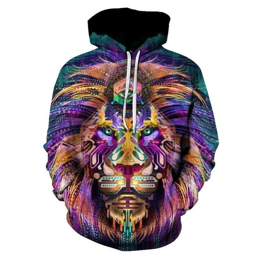 Colorful Digital Lion 3D Sweatshirt Hoodie Pullover