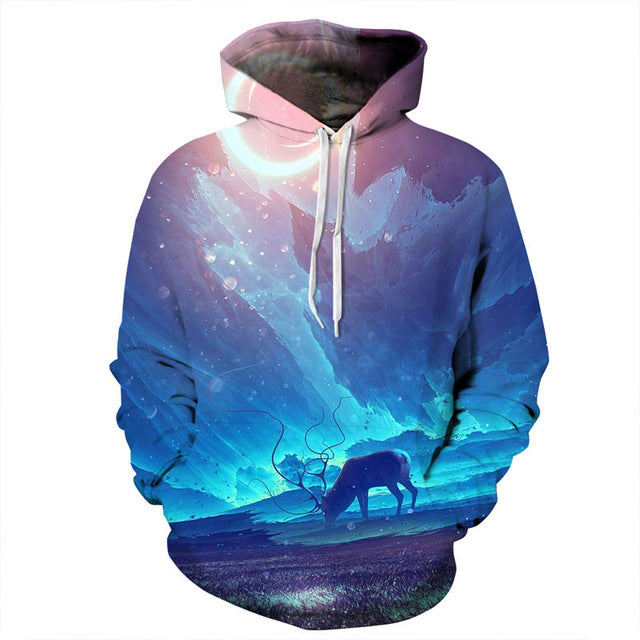 Night Sky Deer 3D Sweatshirt Hoodie Pullover