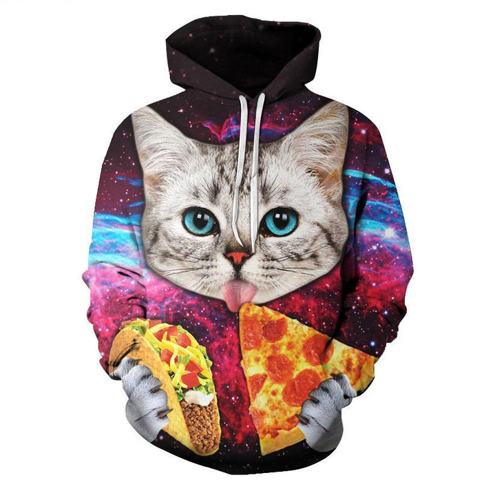 Cat Love Pizza 3D Hoodie Sweatshirt Pullover