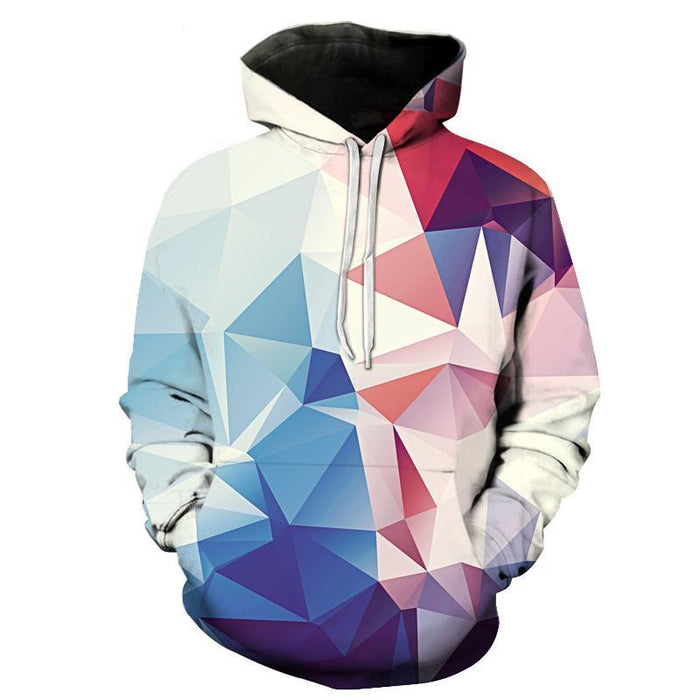 Geometric White, Blue, Red 3D Sweatshirt, Hoodie, Pullover