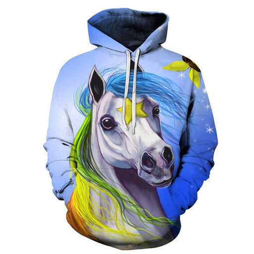 Rainbow Haired Unicorn 3D Sweatshirt Hoodie Pullover