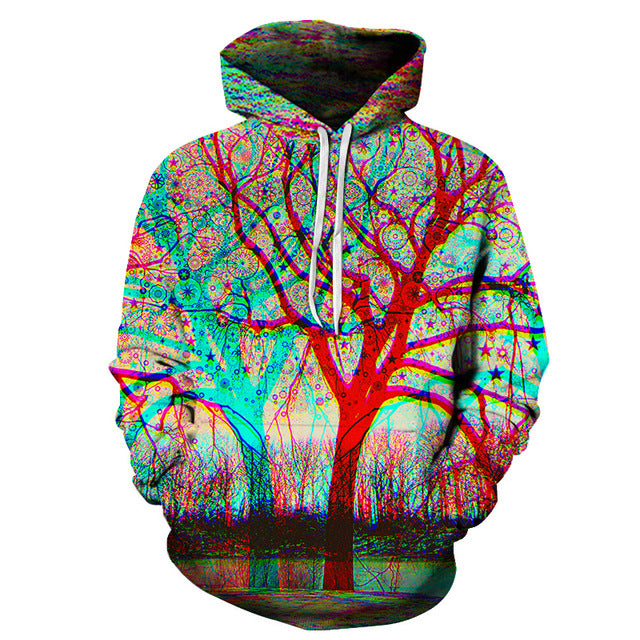Splash Paint Tree 3D Sweatshirt Hoodie Pullover
