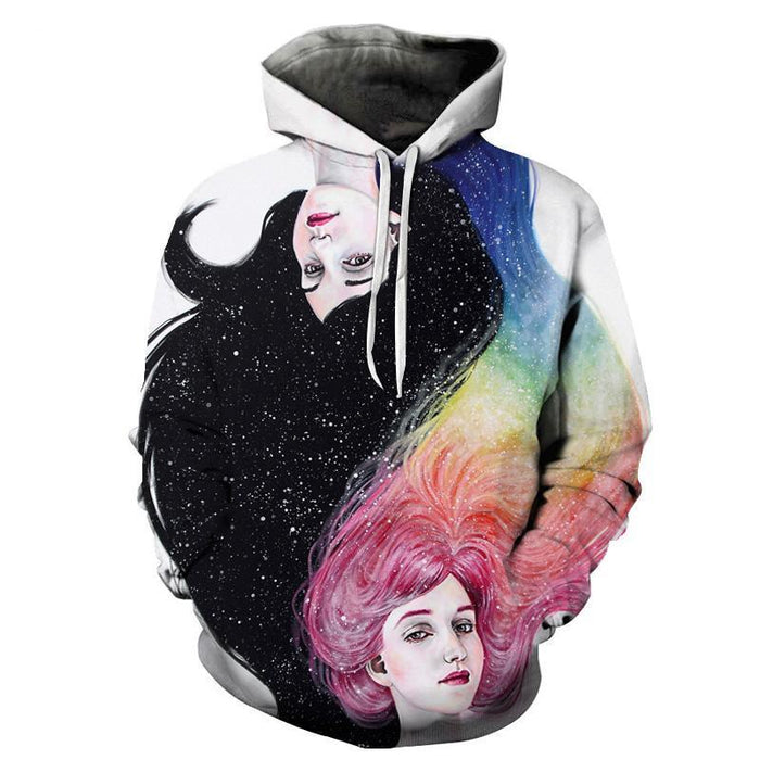 Black and Rainbow Haired Girls 3D Sweatshirt Hoodie Pullover