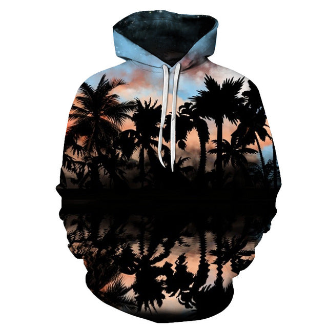 Palm Tree Sunset 3D Hoodie Sweatshirt Pullover