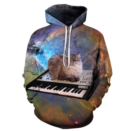 Space Piano Cat 3D Sweatshirt Hoodie Pullover