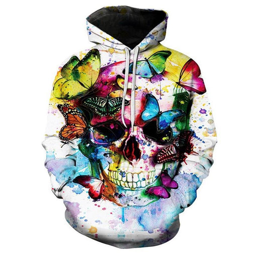 Skull and Butterflies 3D Sweatshirt Hoodie Pullover