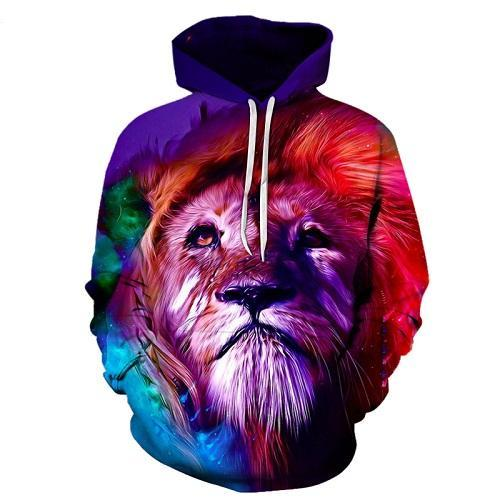 Red Purple Lion 3D Sweatshirt Hoodie Pullover