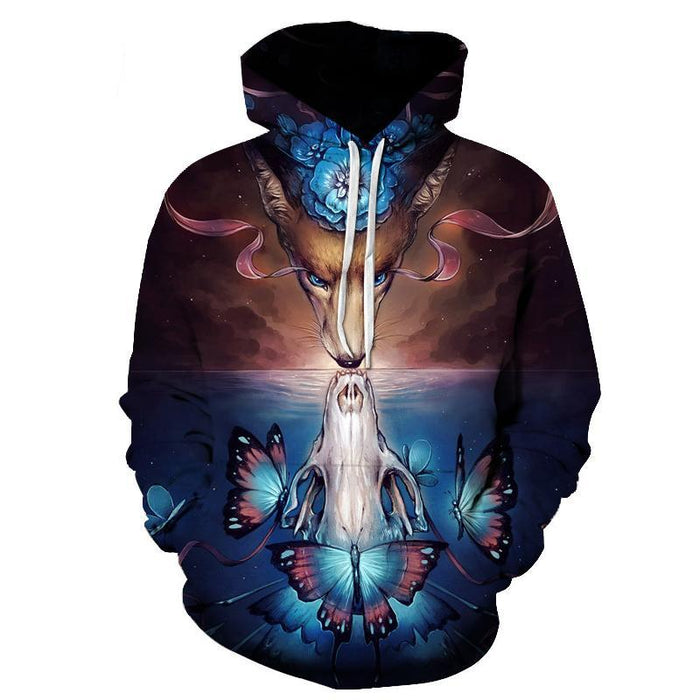 Dragon Fox Reflection 3D Sweatshirt Hoodie Pullover