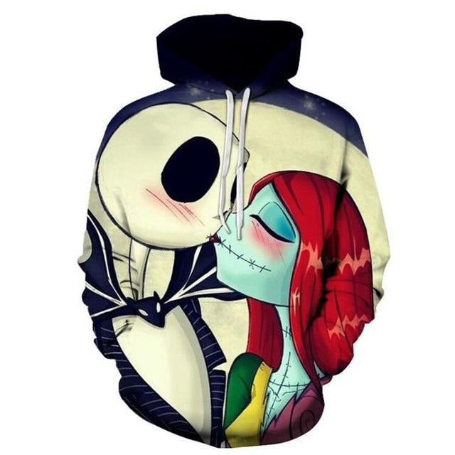 Nightmare Before Christmas Jack and Sally Kiss 3D Sweatshirt Hoodie Pullover