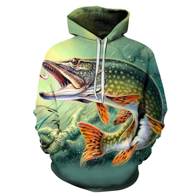 Fish Sharp Teeth 3D Sweatshirt Hoodie Pullover