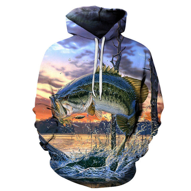 Bass Jumping Out Of Water 3D Sweatshirt Hoodie Pullover