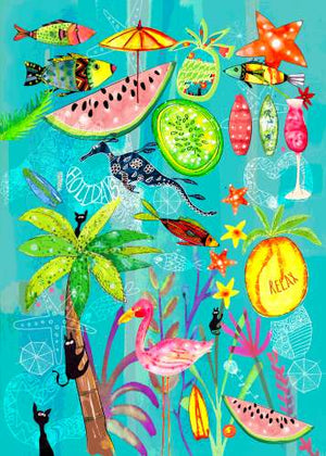 Tea Towel Tropical-Holidays
