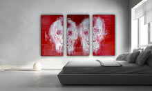 Load image into Gallery viewer, 135 - Two White Skulls in Red (Triptych)