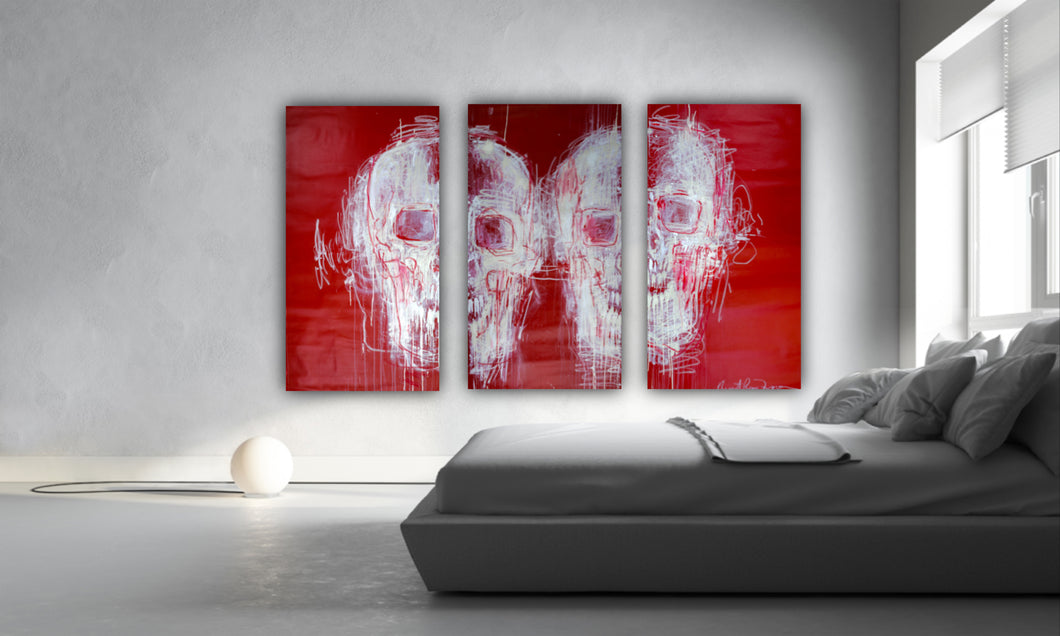 135 - Two White Skulls in Red (Triptych)