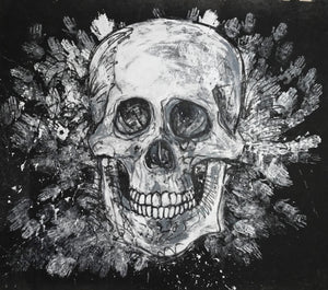 365 - Large B&W Skull with Hands, 2018