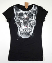 Load image into Gallery viewer, Black Women's fitted Skull T-shirt