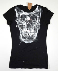 Black Women's fitted Skull T-shirt