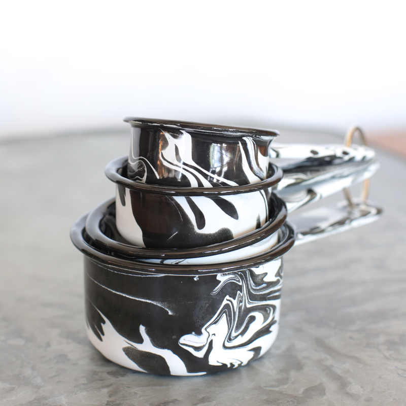 Set of Black & White Swirl Enamel Measuring Cups