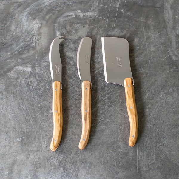 Laguiole Cheese Knives, Set of 3 - Olive Wood