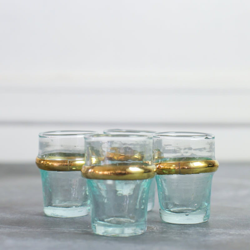 Mini Gold-Rimmed Moroccan Tea Glasses