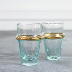 Gold-Rimmed Moroccan Tea Glasses