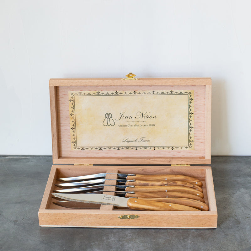 French Laguiole Olivewood Knives in Wooden Box