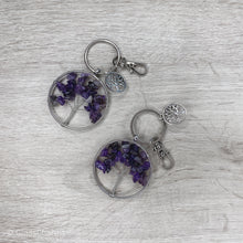 Load image into Gallery viewer, Amethyst Tree of Life Clip-On Bagcharm Keychain - Gina's Charms