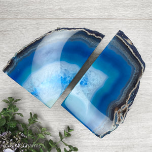 Agate Crystal Bookends - Blue #1960 - Gina's Charms