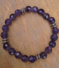 Load image into Gallery viewer, Amethyst Faceted Gemstone Bracelet with Tibetan Spacers