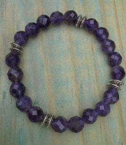 Amethyst Faceted Gemstone Bracelet with Tibetan Spacers - Gina's Charms