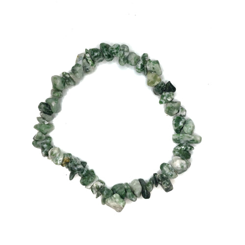 Tree Moss Agate Gemstone Chips Bracelet - Gina's Charms