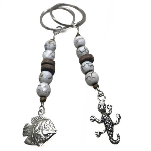 Crackled Agate Animal Charm Keychain