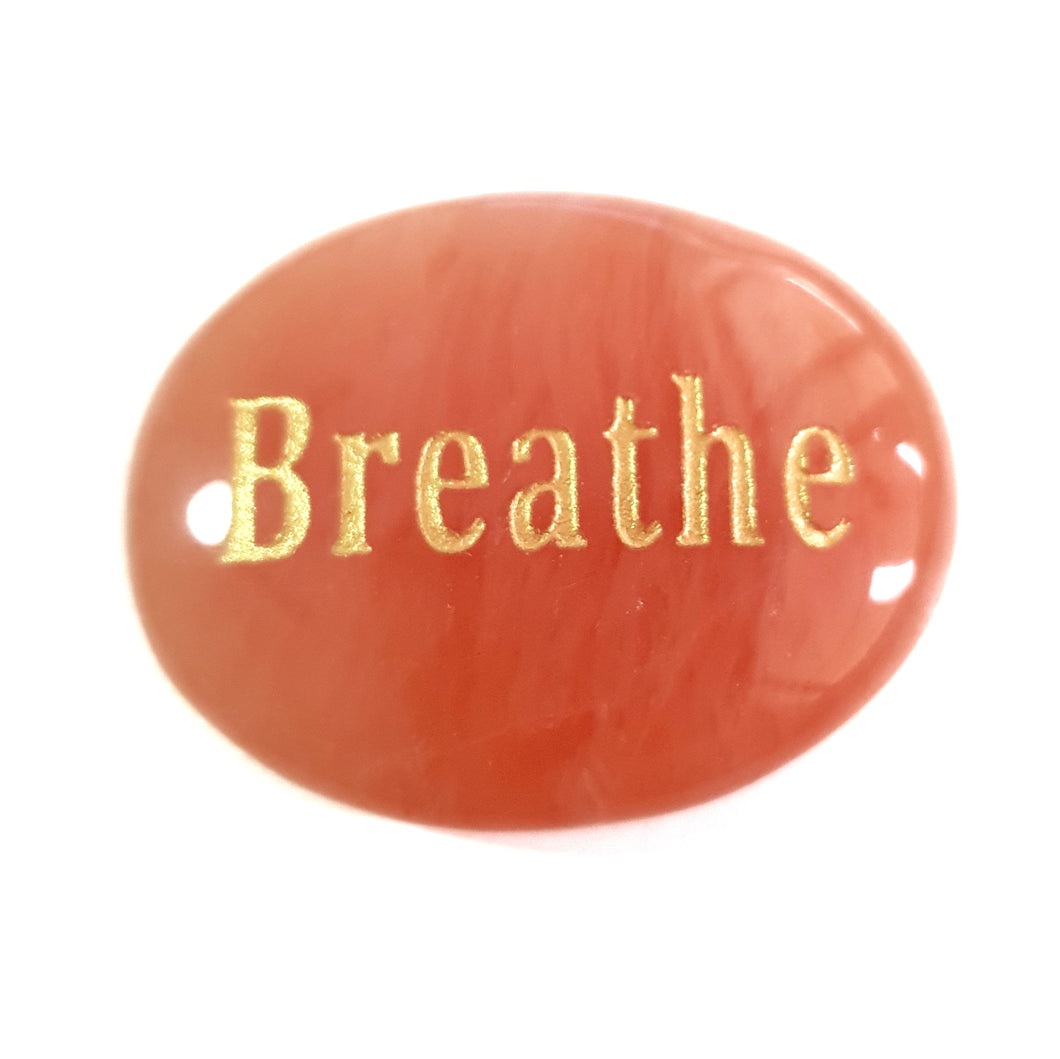 Crystal - Wordstone - BREATHE - Peach Aventurine - Gina's Charms