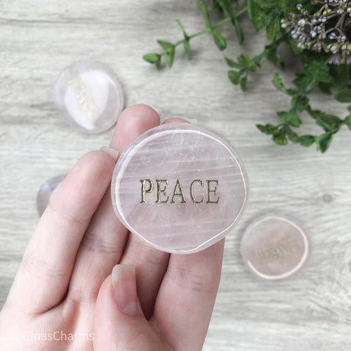 Crystal - Wordstone - PEACE- Rose Quartz - Gina's Charms