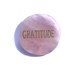 Crystal - Wordstone - GRATITUDE- Rose Quartz - Gina's Charms