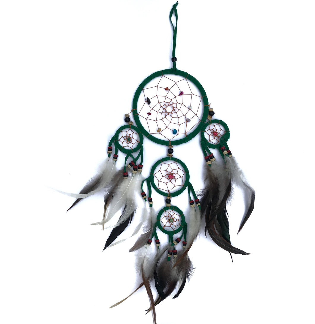 Dreamcatcher with Crystals & Feathers - Green Large