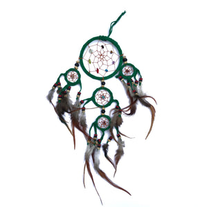 Dreamcatcher with Crystals & Feathers - Green M - Gina's Charms