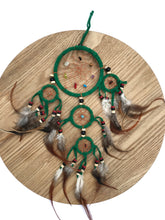 Load image into Gallery viewer, Dreamcatcher with Crystals & Feathers - Green M - Gina's Charms