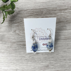 Sodalite Oval Gemstone Earrings with Swarovski Crystals - Gina's Charms