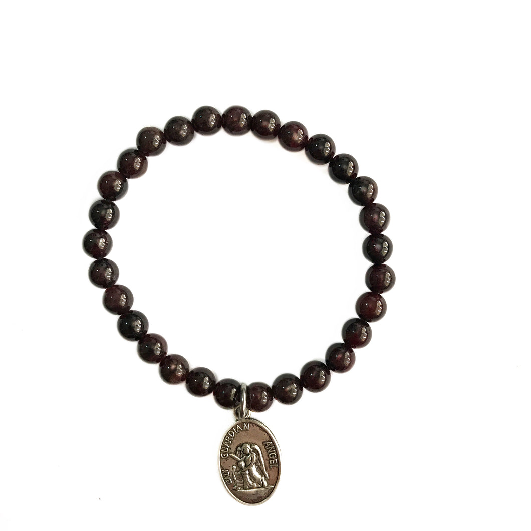 Garnet Bracelet with ArchAngel Charm - Gina's Charms