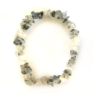 Black Rutilated Quartz Gemstone Chips Bracelet