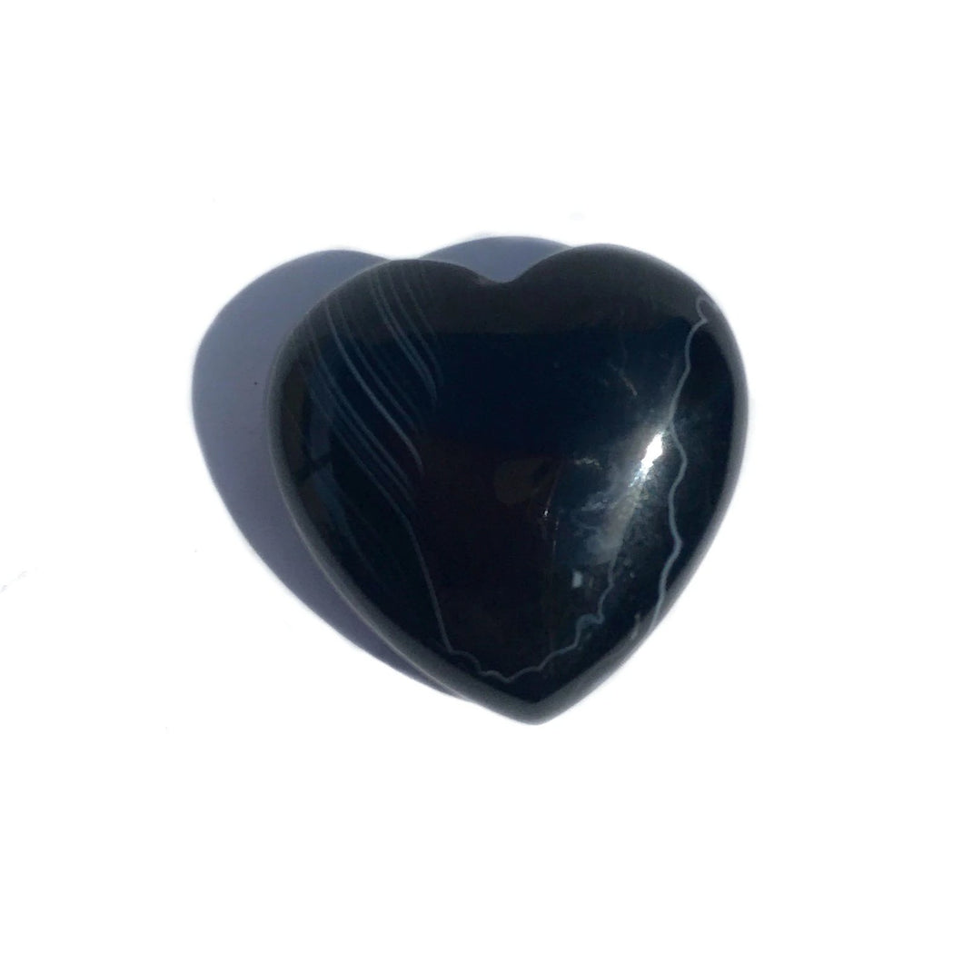 Gemstone Puff Heart - Black Agate S2