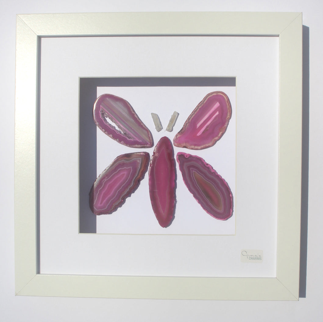 Framed Agate Slice Art - Pink Butterfly #45