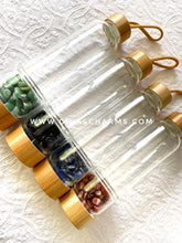 Load image into Gallery viewer, Black Obsidian Large Bamboo Crystal Water Bottle