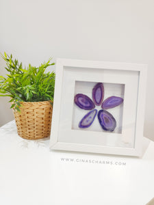 Framed Agate Slice Art - Purple Flower #5