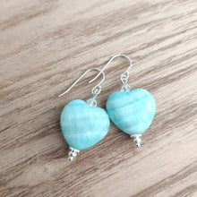 Load image into Gallery viewer, Amazonite Heart Earrings with Swarovski Crystals