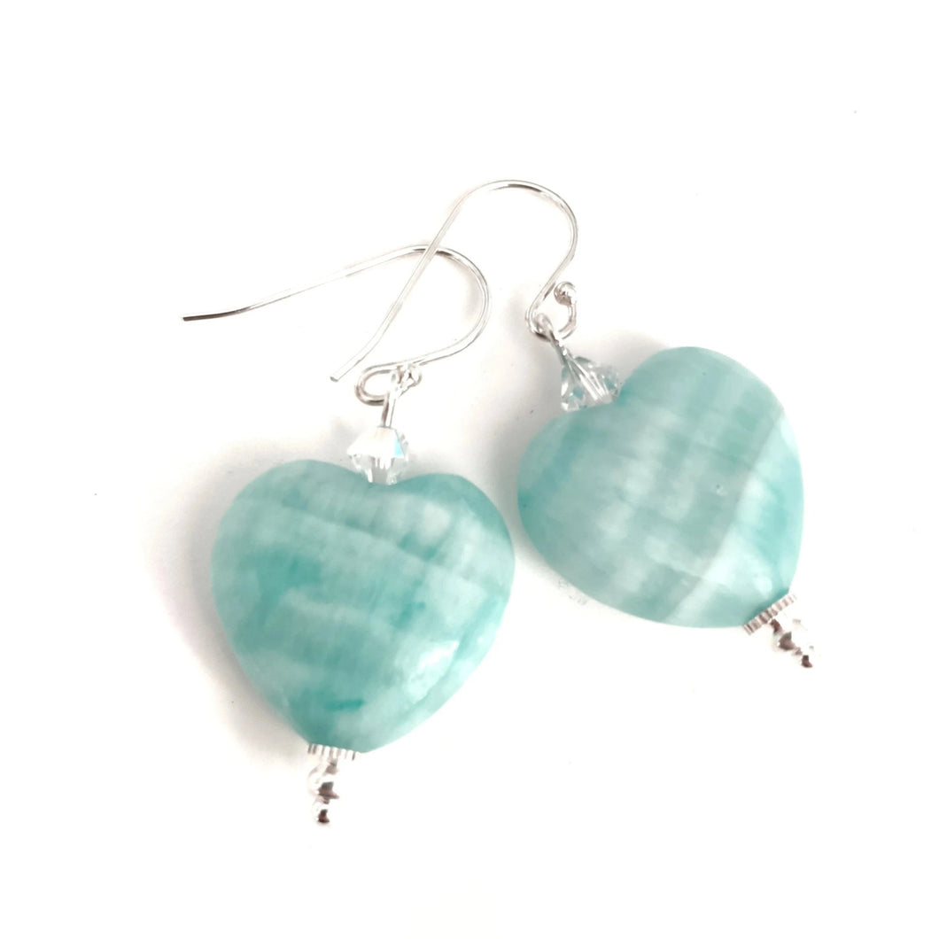 Amazonite Heart Earrings with Swarovski Crystals