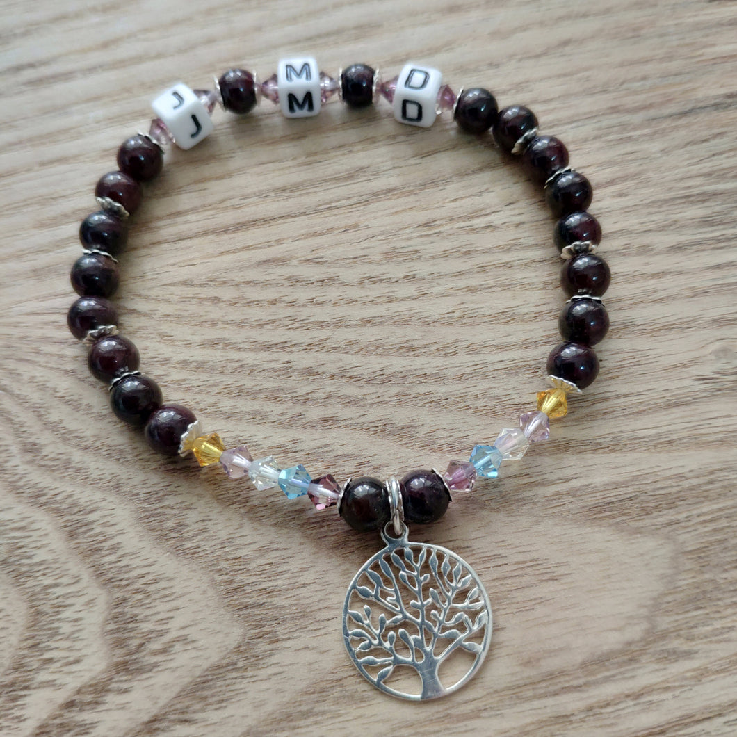 Personalised 925 Sterling Silver Garnet Bracelet with Tree of Life Charm