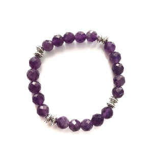 Amethyst Faceted Gemstone Bracelet with Tibetan Spacers