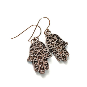Protection Charm Earrings - Filigree Hamsa Hand Medium